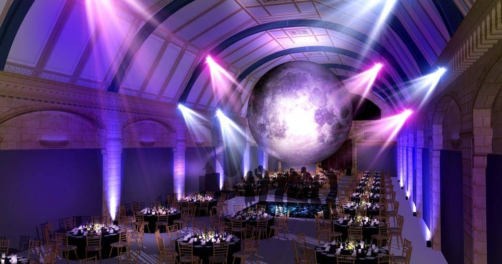 The Natural History Museum, Museum of the moon, moon events space, event space with a moon, dancing under the moon, dancing under the stars