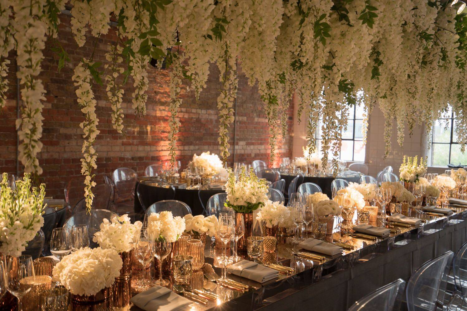 Loft studios wedding, gold mirror table top, luxury wedding planners, luxury event planners, life of a wedding planner
