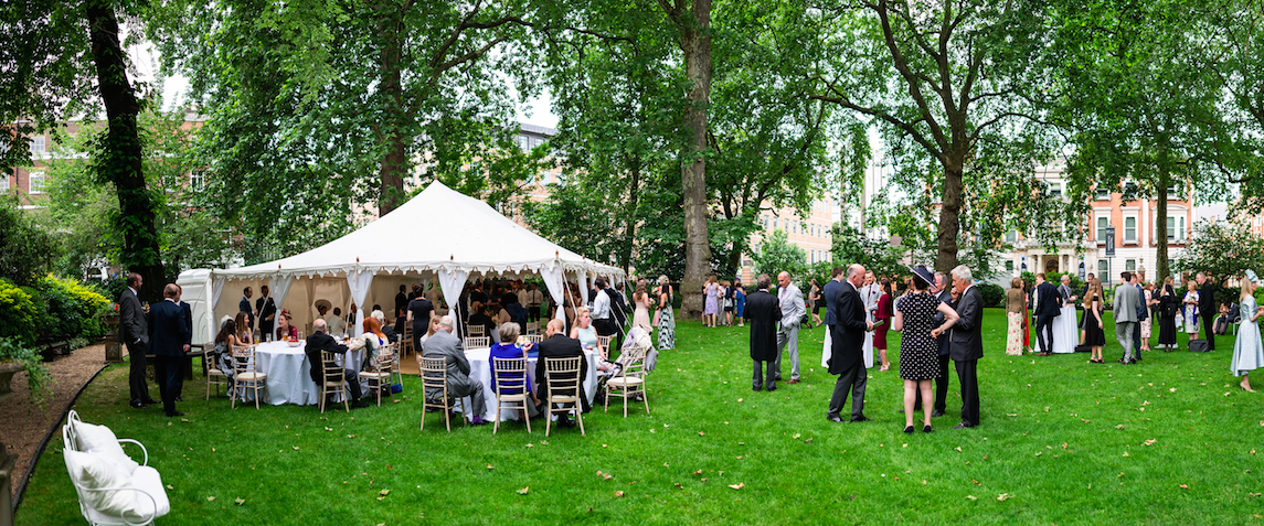 Manchester Square Gardens Marquee, Garden party in Manchester Square Gardens, Wedding Marquee, Raj Tent Club wedding marquee