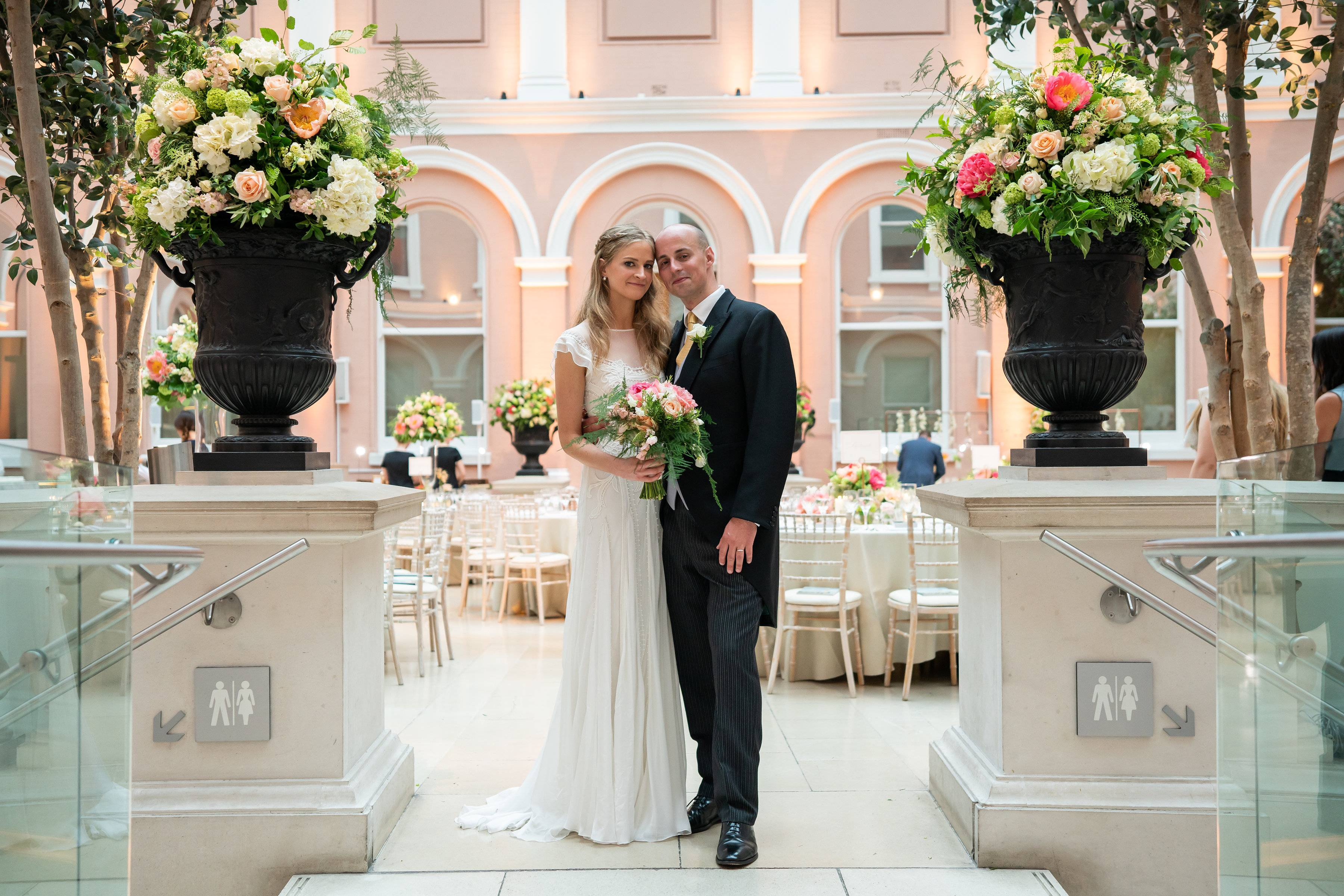 London Wedding planners, Wallace Collection Courtyard Wedding, Wedding in the Courtyard at the Wallace Collection, Temperley Wedding Dress, Floral urn displays