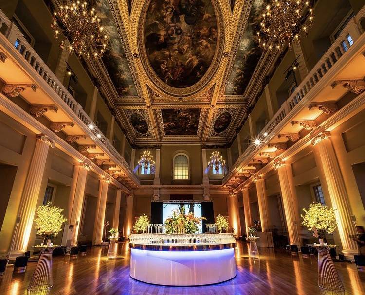 Event planners at Banqueting House, party planners london, white circular bar, twilight trees at Banqueting House, London event planner at Banqueting House, parties in a palace