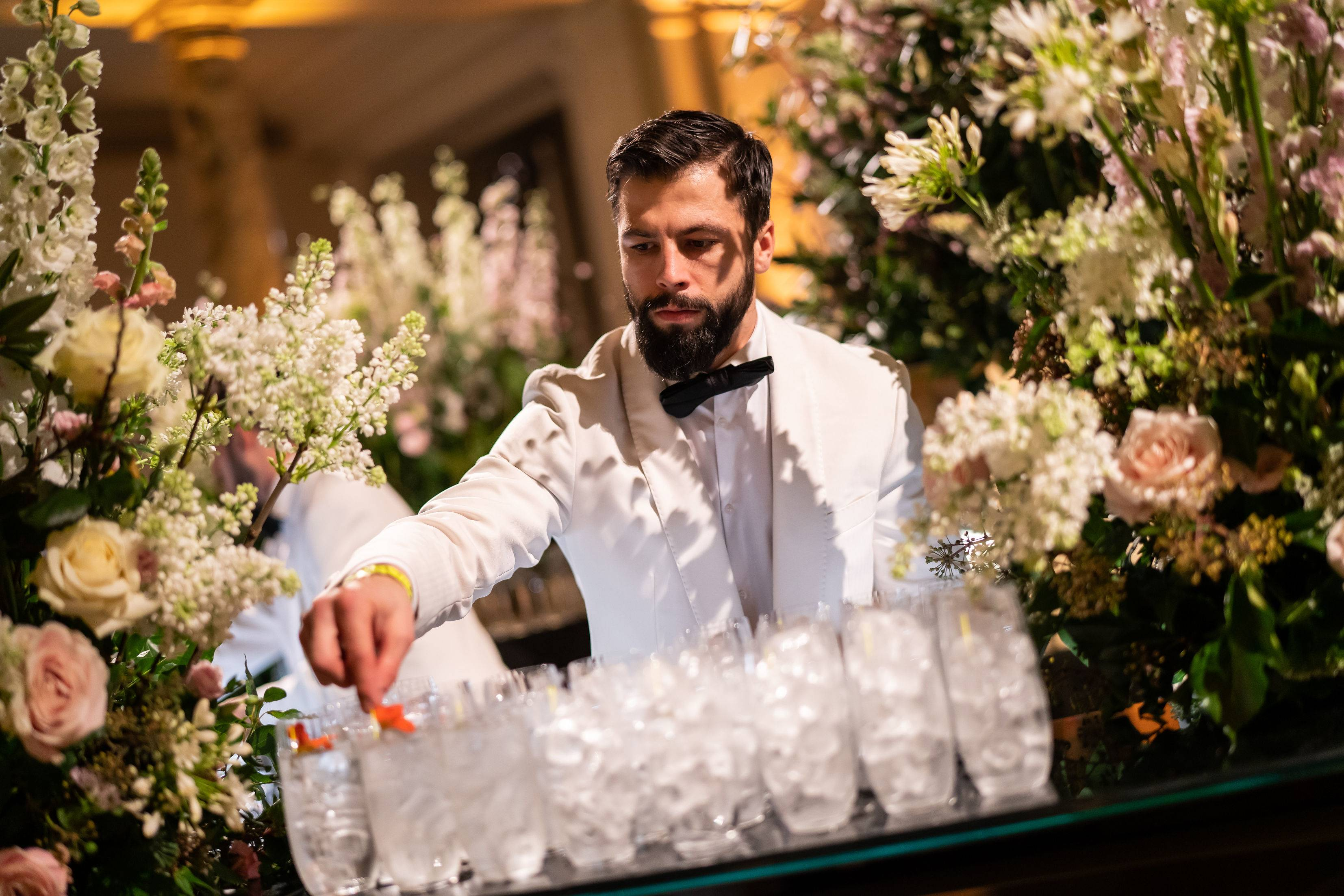 Luxury London wedding planners, Life of a wedding planner, Bar florals, Floristry design at the V&A