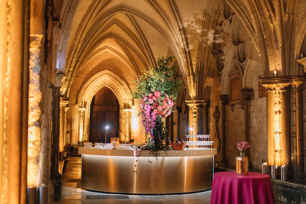 Events in the Cloisters, Gold Bar, Gold circular bar, Westminster Abbey Bar, Bar hire in Westminster abbey, Gold bar in the cloisters at Westminster Abbey