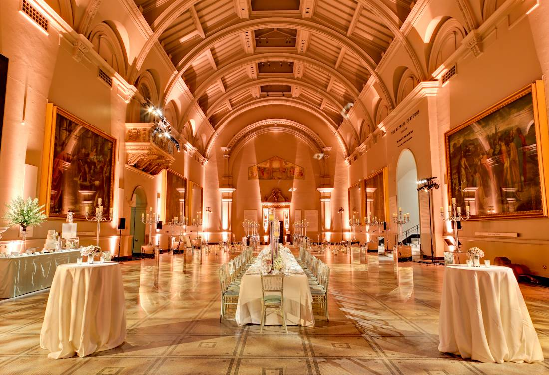 Weddings at the V&A, Weddings in the Raphael Gallery, Wedding breakfast set up in the Raphael Gallery, London Wedding Planner, Weddings in Unique venues of London