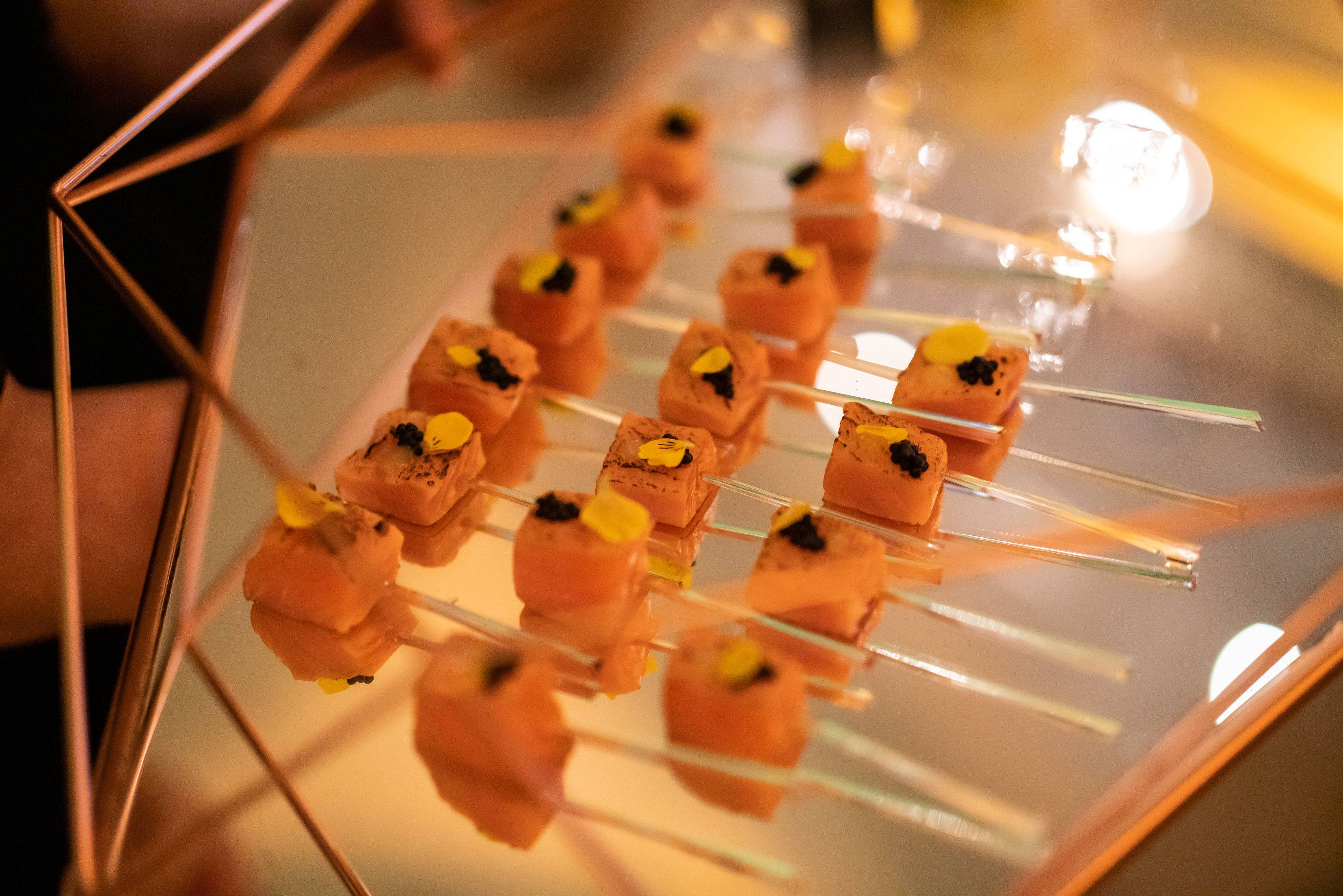 Beautiful canapés, canapé trays, rose gold canapé trays, luxury events, luxury event planners